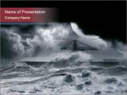 Big Storm in Harbor PowerPoint Templates