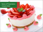 Pink Cheesecake with Strawberries PowerPoint Templates