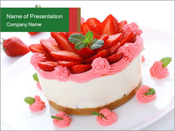 Pink Cheesecake with Strawberries PowerPoint Template - Slide 1
