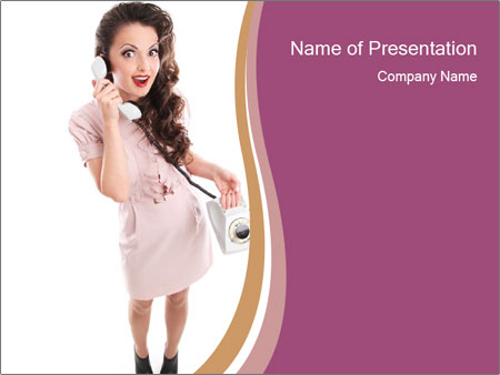 Surprised Girl Speaking Over Phone PowerPoint Template