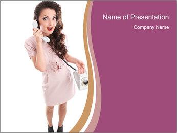 Surprised Girl Speaking Over Phone PowerPoint Templates - Slide 1