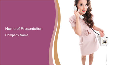 Surprised Girl Speaking Over Phone PowerPoint Template - Slide 1