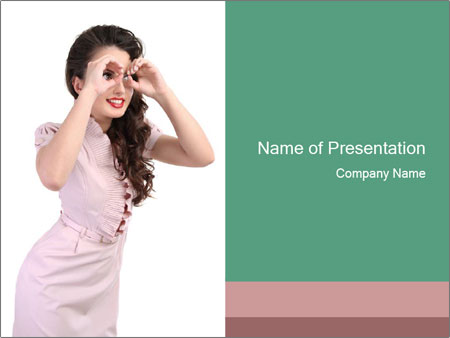 Lady Spying PowerPoint Template