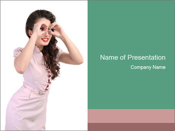 Lady Spying PowerPoint Template - Slide 1