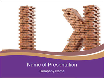 Letters Made of Bricks PowerPoint Templates - Slide 1