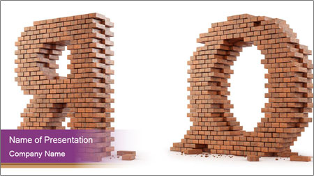 3D Letter Bricks PowerPoint Template