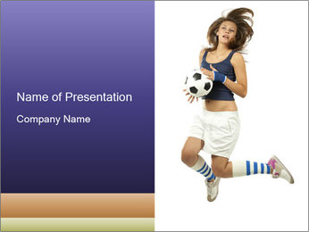 Soccer Girl Holding Ball PowerPoint Template - Slide 1
