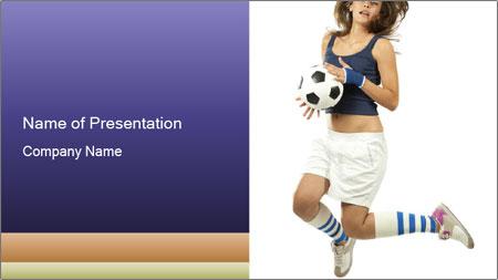Soccer Girl Holding Ball PowerPoint Template