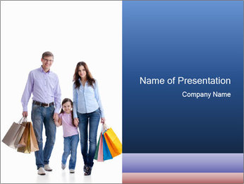 Family Members Carrying Shopping Bags PowerPoint Templates - Slide 1