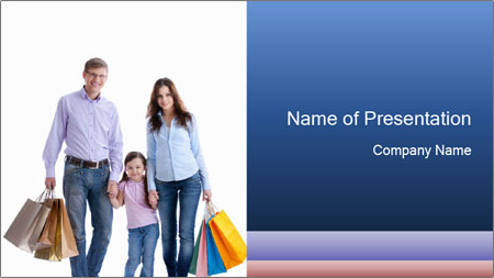 Family Members Carrying Shopping Bags PowerPoint Template
