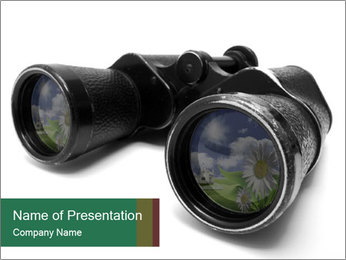 Camomiles Reflecting in Binoculars PowerPoint Templates - Slide 1