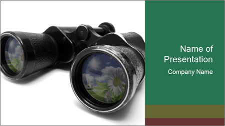 Camomiles Reflecting in Binoculars PowerPoint Template