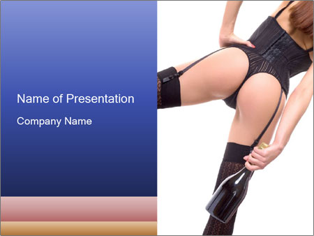 Lady Wearing Sexy Stockings PowerPoint Template