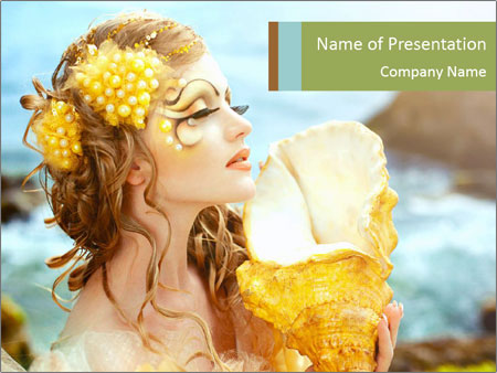 Mermaid with Golden Shell PowerPoint Templates