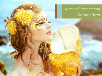 Mermaid with Golden Shell PowerPoint Templates - Slide 1