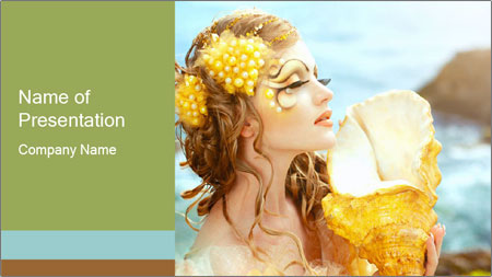 Mermaid with Golden Shell PowerPoint Template