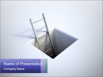 Ladder in Floor Hole PowerPoint Templates - Slide 1
