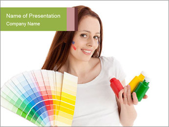 Woman Holding Color Guide PowerPoint Template - Slide 1
