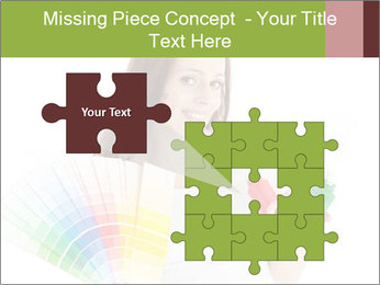 Woman Holding Color Guide PowerPoint Template - Slide 45
