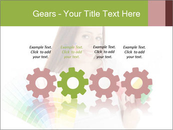 Woman Holding Color Guide PowerPoint Template - Slide 48