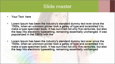 Woman Holding Color Guide PowerPoint Template - Slide 2