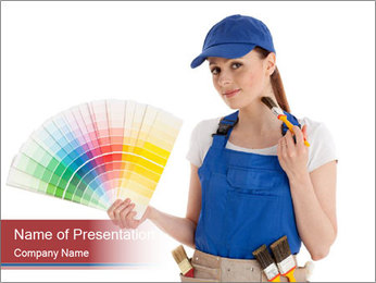 Painter Holding Color Guide PowerPoint Templates - Slide 1