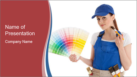 Painter Holding Color Guide PowerPoint Template
