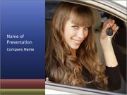 Woman Drives Own Car PowerPoint Templates