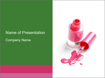 Open Bottle of Pink Nail Polish PowerPoint Template - Slide 1