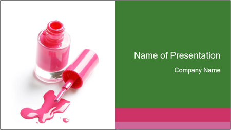 Open Bottle of Pink Nail Polish PowerPoint Template