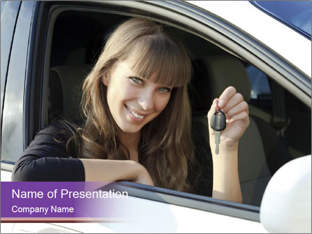 Woman Holding Car Keys PowerPoint Template