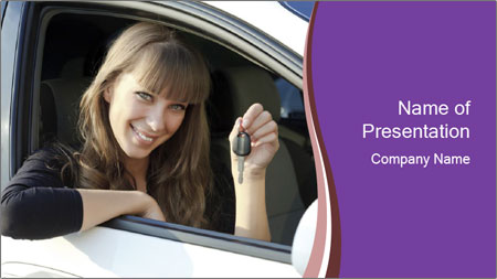 Woman Holding Car Keys PowerPoint Template
