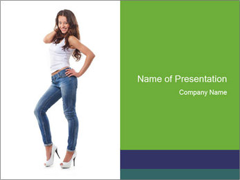 Girl Showing New Skinny Jeans PowerPoint Template - Slide 1