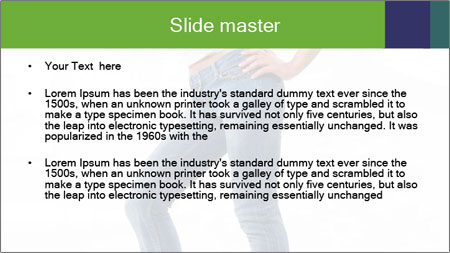 Girl Showing New Skinny Jeans PowerPoint Template - Slide 2