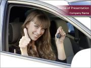 Woman Showing Car Keys PowerPoint Templates