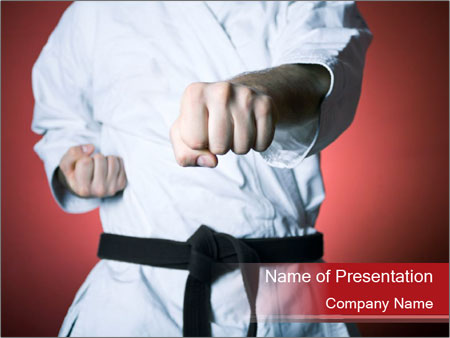 karate training powerpoint template & backgrounds id 0000063910, Presentation templates