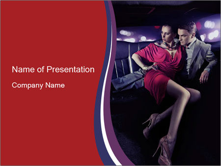 Couple Sitting in Limo PowerPoint Template