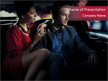 Romantic Couplting in Taxi PowerPoint Template