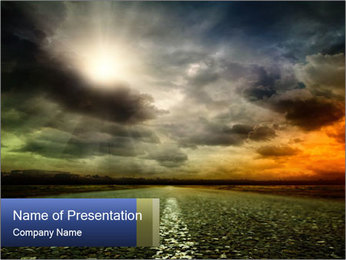 Stormy Sky and Road PowerPoint Template