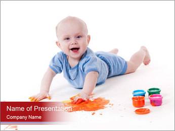 Baby Loves Painting PowerPoint Template
