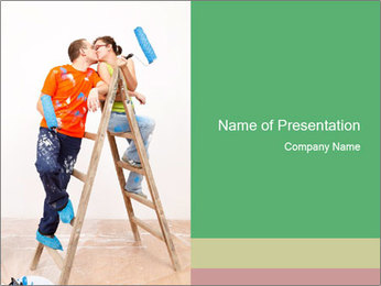 Couple Paints Walls Together PowerPoint Template - Slide 1