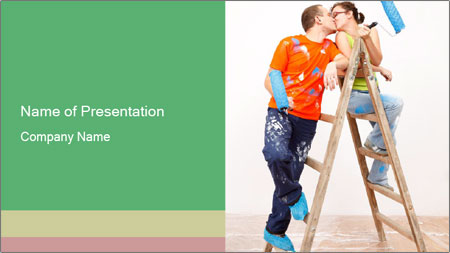 Couple Paints Walls Together PowerPoint Template