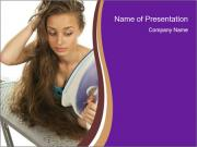 Woman Makes Hair Straigh PowerPoint Templates