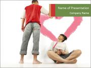 Husband Paints Pink Heart PowerPoint Templates
