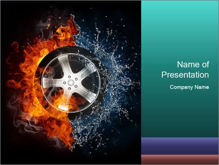 Water and Fire Over Wheel PowerPoint Templates