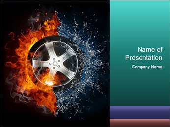 Water and Fire Over Wheel PowerPoint Templates - Slide 1