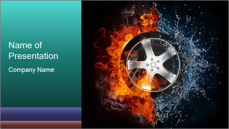 Water and Fire Over Wheel PowerPoint Template