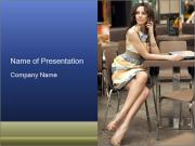 Single Woman Sitting in Cafe PowerPoint Templates