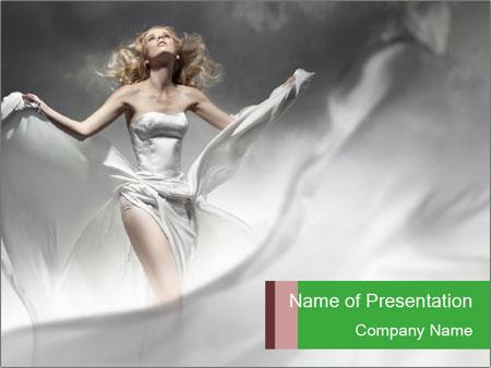 Stunning Woman in Silk Dress PowerPoint Template