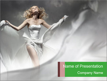 Stunning Woman in Silk Dress PowerPoint Template - Slide 1